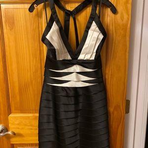 BCBGMAXAZRIA black and white halter dress